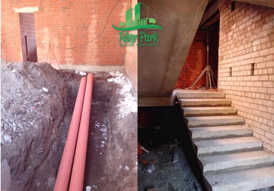 Прокладываем канализационные трубы и готов лестничный пролет, который ведет на второй этаж