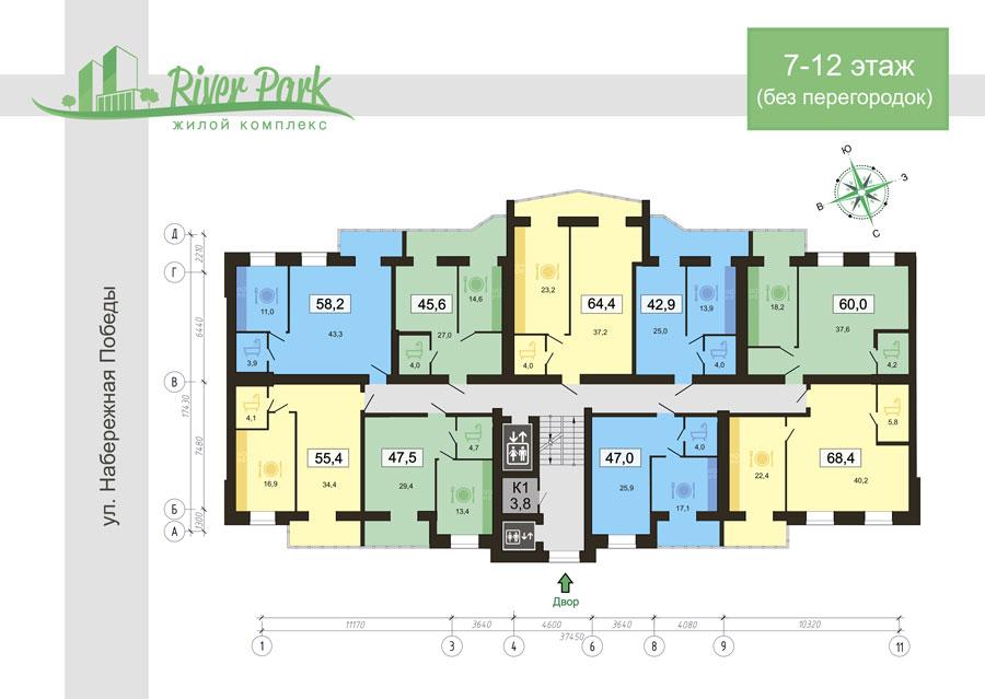план 11 этажа 6 секции
